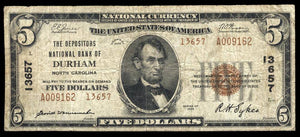 1929 $5 Note Durham – North Carolina – CH 13657 – FR 1800-1 – F/VF 15