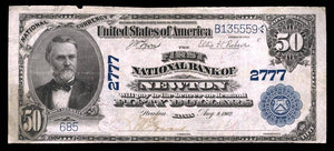 1902 $50 Note Newton – Kansas – CH 2777 – FR 667 – VF20