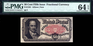 1863 $0.50 Note FR. 1381 Fifth Issue Fractional Currency PMG CU64 EPQ