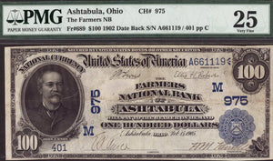 1902 $100 Note - Ashtabula - Ohio - CH 975 - FR 689 - PMG VF25