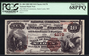 1882 - $10 Note - Brown Back National Bank Note - FR 484 - PCGS Superb Gem New 68 PPQ