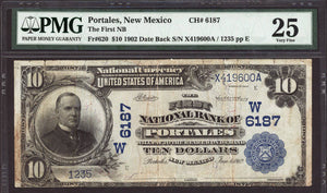 1902 $10 Note Portales - New Mexico - CH 6187 - FR 620 - PMG VF25