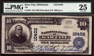1902 $10 Note Kaw City - Oklahoma - CH 10402 - FR 630 - PMG VF25