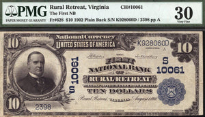 1902 - $10 Note - Rural Retreat - Virginia - CH 10061 - FR 628 - PMG VF30