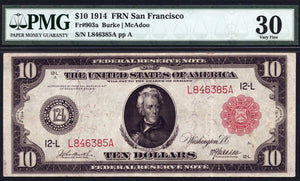 1914 - $10 Note - Federal Reserve Note - San Francisco - FR 903a - PMG VF30