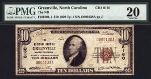 1929 $10 Note Greenville - North Carolina - CH 8160 - FR 1801-1 - PMG VF20