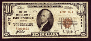 1929 $10 Note Independence - Kansas - CH 4157- FR 1801-1 - F/VF