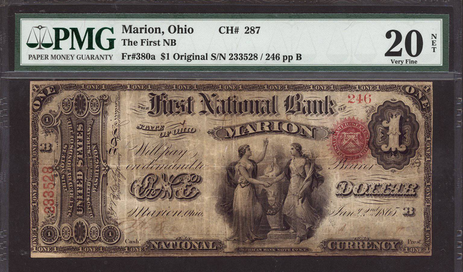 1865 - $1 Note - Marion - Ohio - CH 287 - FR 380a - PMG VF20 NET