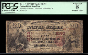 1875 - $20 Note - National Gold Bank Note - FR 1157 - PCGS VG8