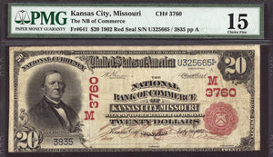 1902 $20 Note Kansas City - Missouri - CH 3760 - FR 641 - PMG CF15