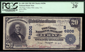 1902 $20 Note Luray - Virginia - CH 6206 - FR 650 - PCGS VF20