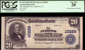 1902 $20 Note - Anaheim - California - CH 10228 - FR 654 - PCGS VF20