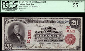 1902 - $20 Note - Ripley - Ohio - CH 3291 - FR 639 - PCGS Ch About New 55