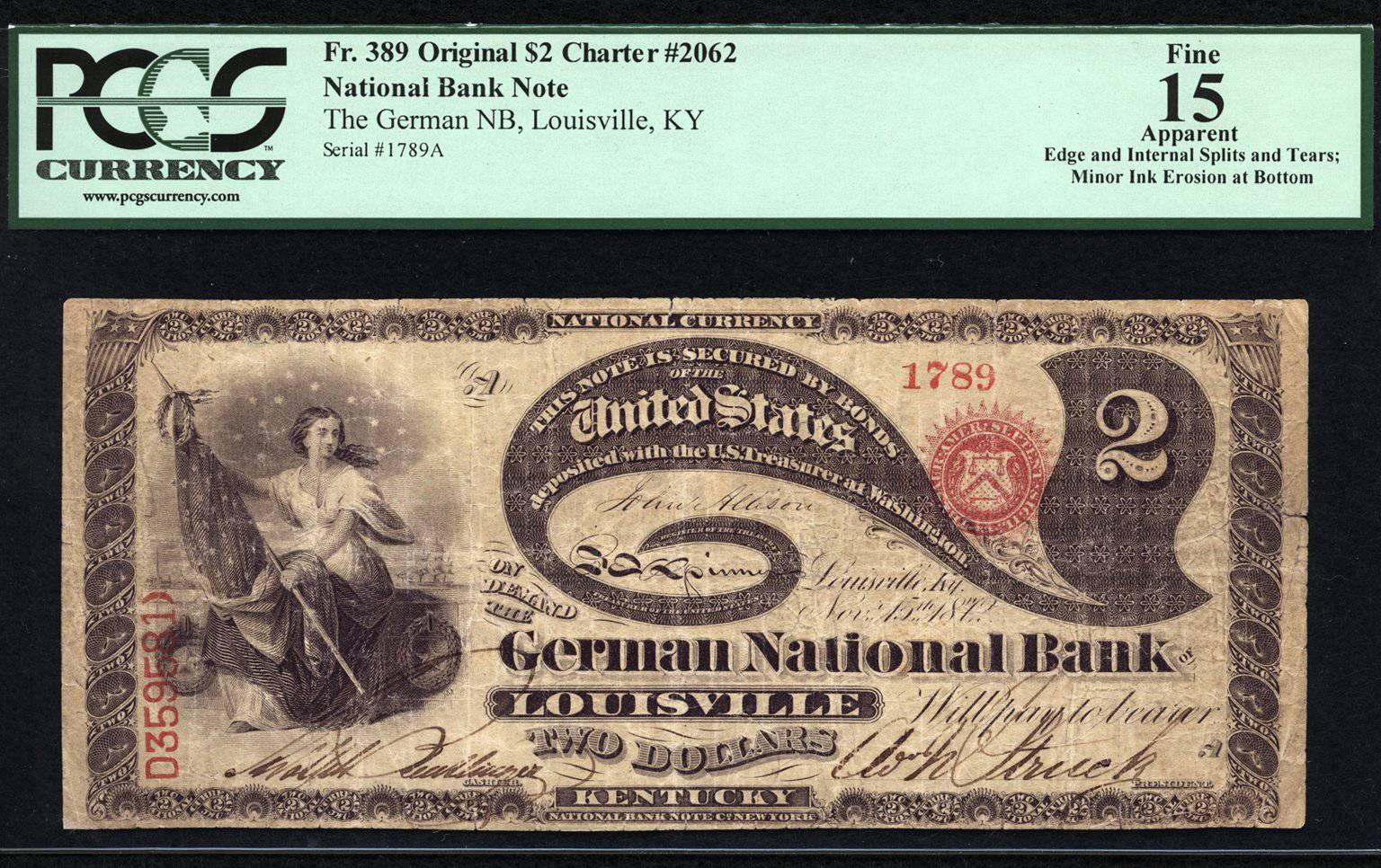 1789 - $2 Note - Original Series National Bank Note - FR 389 - PCGS F15 Apparent