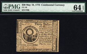 1775 $30 Note FR. CC-010 Continental Currency PMG CU64 EPQ