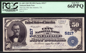 1902 - $50 Note - PB National Bank Note - FR 682 - PCGS Gem New 66 PPQ