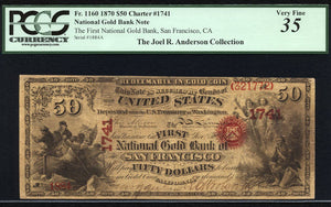 1870 - $50 Note - National Gold Bank - San Francisco - FR 1160 - PCGS VF35