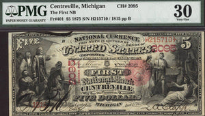 1875 $20 Note - Centreville - Michigan - CH 2095 - FR 401 - PMG 30 - VF30