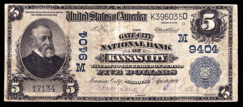 1902 $5 Note Kansas City - Missouri - CH 9404 - FR 600 - F/VF