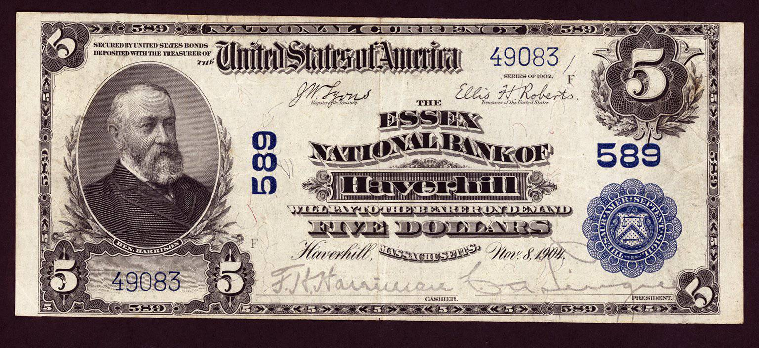 1902 $5 Note Haverhill - Massachusetts - CH 589 - FR 598 - VF/XF