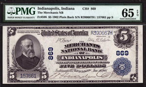 1902 $5 Note Indianapolis - Indiana - CH 869 - FR 598 - PMG GU65 EPQ