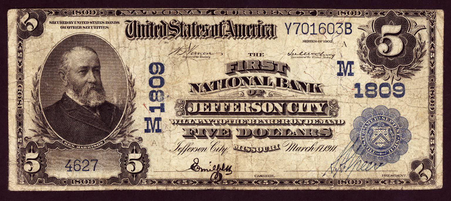 1902 $5 Note Jefferson City - Missouri - CH 1809 - FR 601 - F/VF15