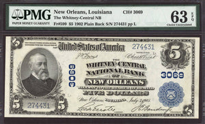 1902 $5 Note New Orleans - Louisiana - CH 3069 - FR 599 - PMG CU63 EPQ