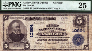 1902 $5 Note - Ashley - North Dakota - CH 10864 - FR 606 - PMG VF25