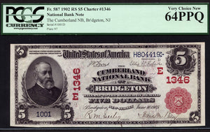 1902 - $5 Note - Red Seal National Bank Note - FR 587 - PCGS Very Ch New 64 PPQ