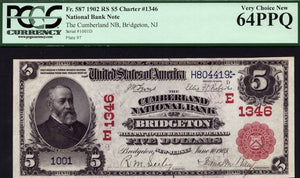 1902 $5 Note - Bridgeton - New Jersey - CH 1346 -FR 587 - PCGS - PPQ64