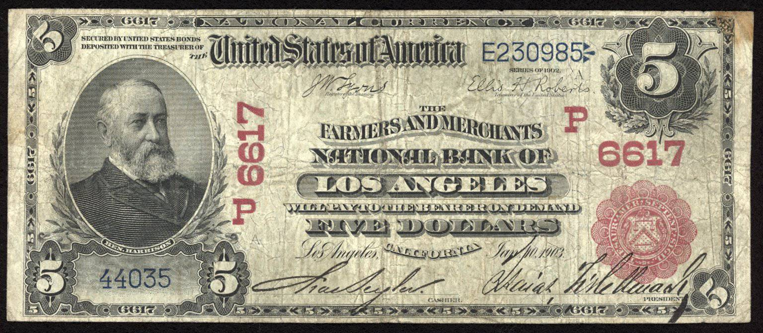 1902 $5 Note Los Angeles - California - CH 6617 - FR 587 - VG