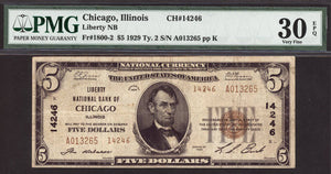 1929 $5 Note Chicago - Illinois - CH 14246 - FR 1800-2 - PMG VF30 EPQ