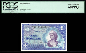 1968 $1 Note MPC Series 661 PCGS Superb Gem New 68 PPQ