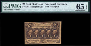 1862 $0.25 Note FR. 1281 First Issue Fractional Currency PMG GU65 EPQ