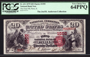 1875 - $20 Note - National Bank Note - FR 431 - PCGS Very Ch New 64 PPQ