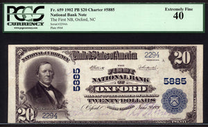 1902 - $20 Note - Oxford - North Carolina - CH 5885 - FR 659 - PCGS EF40