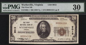 1929 - $20 Note - Wytheville - Virginia - CH 9012 - FR 1802-1 - PMG VF30