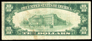 1929 - $10 Note - Woodbury - New Jersey - CH 3716 - FR 1801-1 - F12