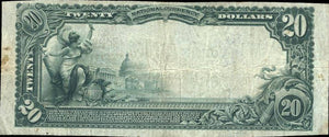 1902 – $20 Note – Bentleyville – Pennsylvania – CH 9058 – FR 652 – F/VF15