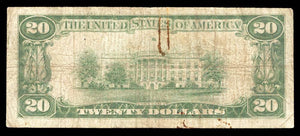 1929 – $20 Note – Muskegon – Michigan – CH 4398 – FR 1802-1 – VG8
