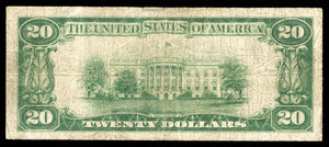1929 - $20 Note - Westfield - Massachusetts - CH 1367 - FR 1802-1 - F12