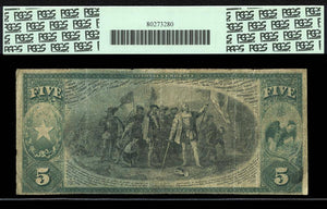 1875 $5 Note Galveston – Texas – CH 1566 – FR 401 – PCGS F12 Apparent