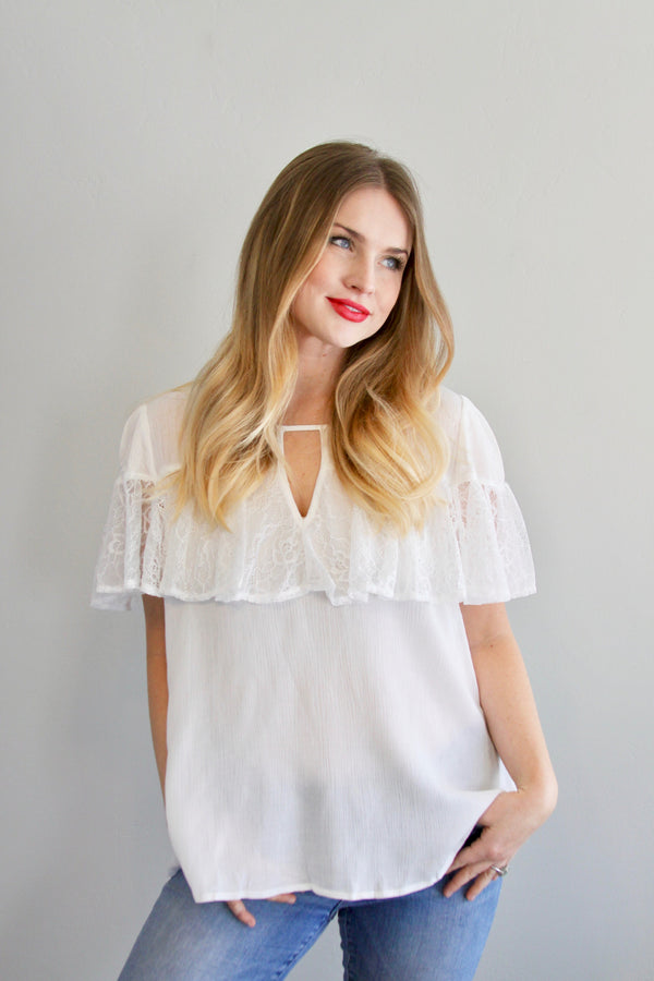 Ellie Blouse in White - Final Sale