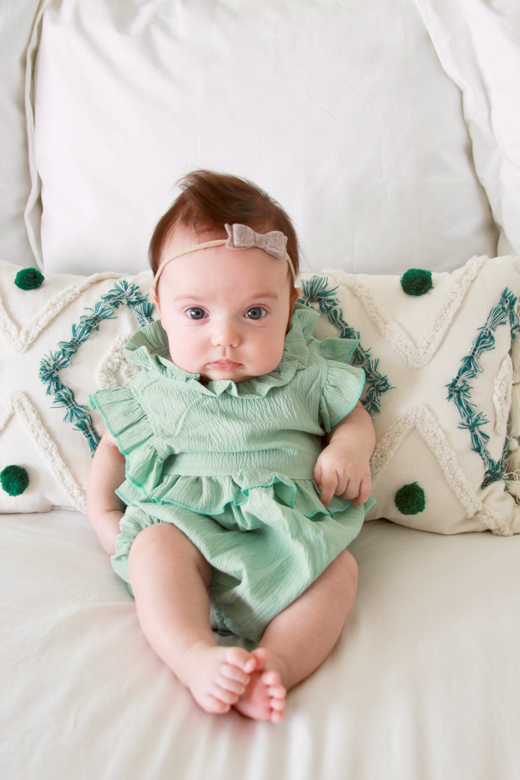 Martha Romper in Sea Foam Green