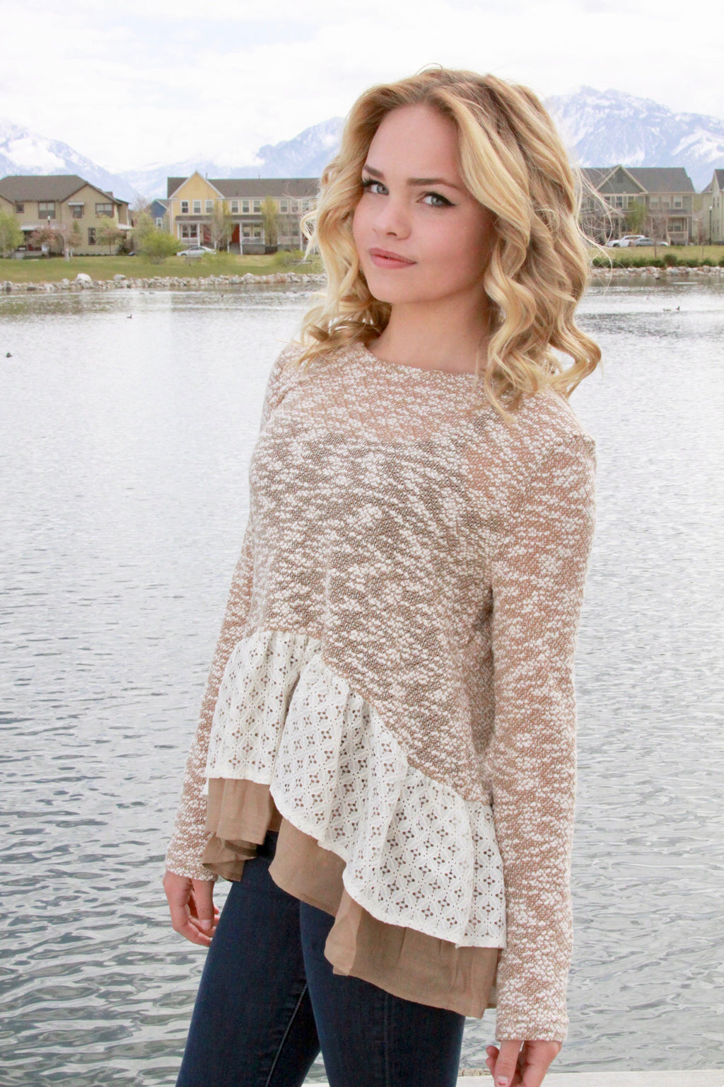Peplum with a Side of Lace in Sand -Final Sale