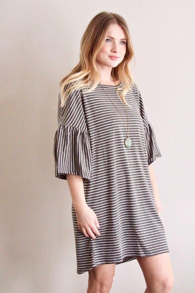 Oversized Stripe Dress in Charcoal - Final Sale