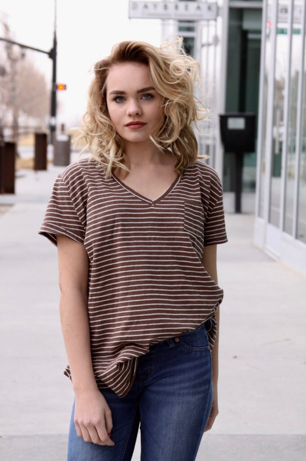 Mocha Striped Tee - Final Sale