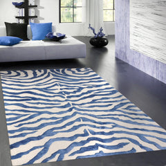 5' x 8' Modern Zebra Bamboo Silk and Wool Area Rug