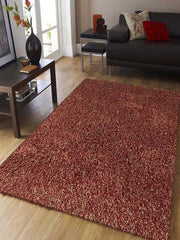 Peacock Red Shag Plush Area Rugs