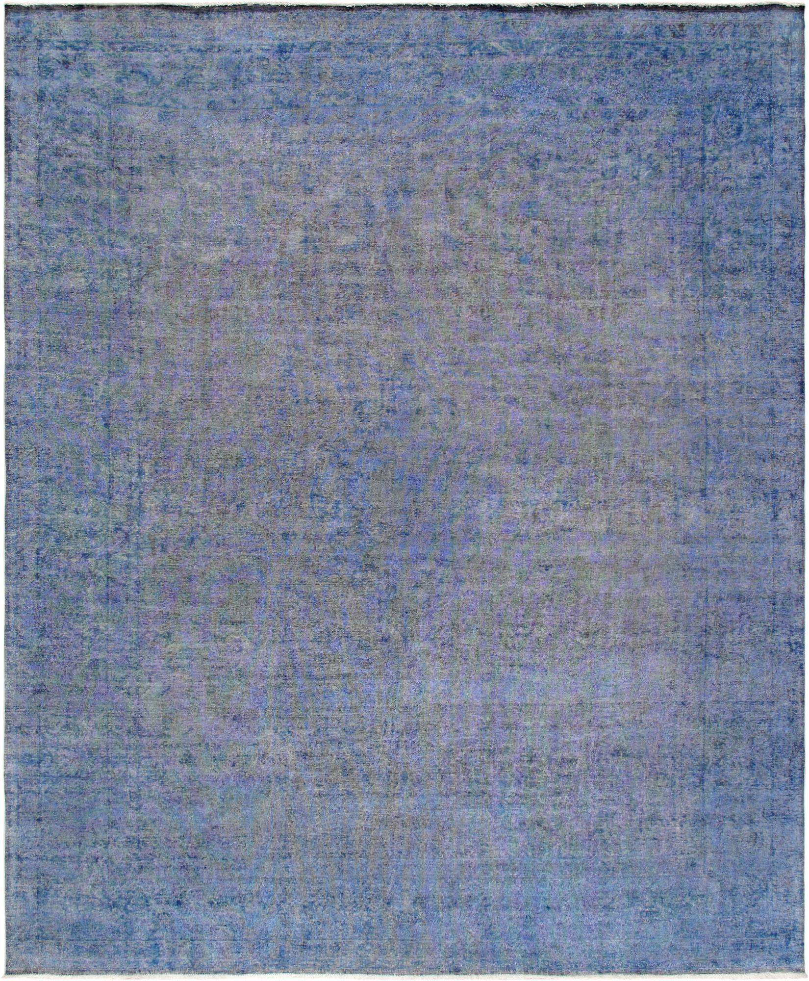 10' X 13' Overdyed Blue Hand Knotted Wool Area Rug